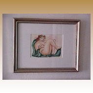 Trio Of Framed Watercolor Nudes by Anjelika Curtin