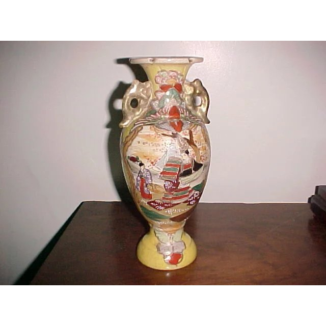 Antique Satsuma Vase Urn 19th Century 10 Tall Cary On Cary
