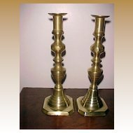 "Beehive Candlesticks Push Ups, 11""  Mid 19th Century"