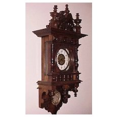 "Large 39"" German ""Free Swinger"" Vienna Regulator Wall Clock clock C.1891-94"