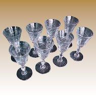 Set (8) cut crystal cordial aperitif glasses 1930-40 starburst design