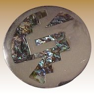 Alpaca & Abalone Brooch Pin Pendant Signed Mexico Mid Century Modernist