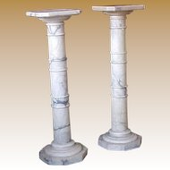 Antique Marble Statuary Pedestal Columns (pair)  19th century