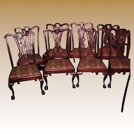 Chippendale Possibly Period  Mahogany Side Chairs (8)