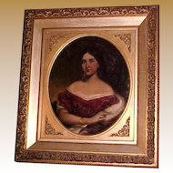 Antique Oil on Canvas Portrait Antebellum Lady, signed Brookbank after Manuel De Franca  (1808-1865)