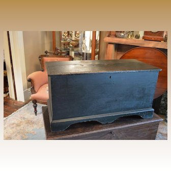 Original Painted Blanket Chest 1800s Maine Signed