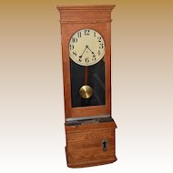 Antique Oak Time Recorder Clock C. 1900