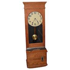 Antique Oak Time Recorder Clock C. 1900