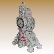 Mantel Clock Faience Case Roblin Paris C. 1850