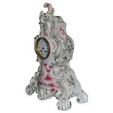 Mantel Clock Faience Case Roblin Paris C. 1850