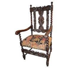 William & Mary Revival Armchair Circa 1840