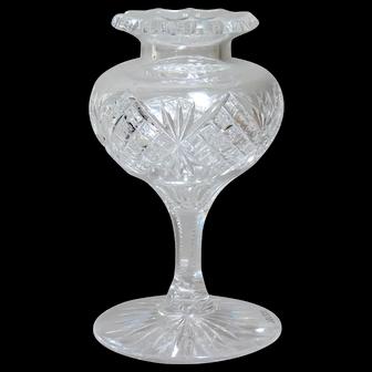American Brilliant Cut Glass Stemmed Posy Vase.