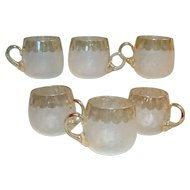 New England Glass Works Victorian Pomona Custard Cup Set of  Six