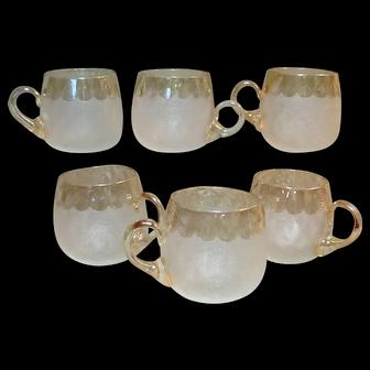 New England Glass Works Victorian Pomona Custard Cup Set of  Six