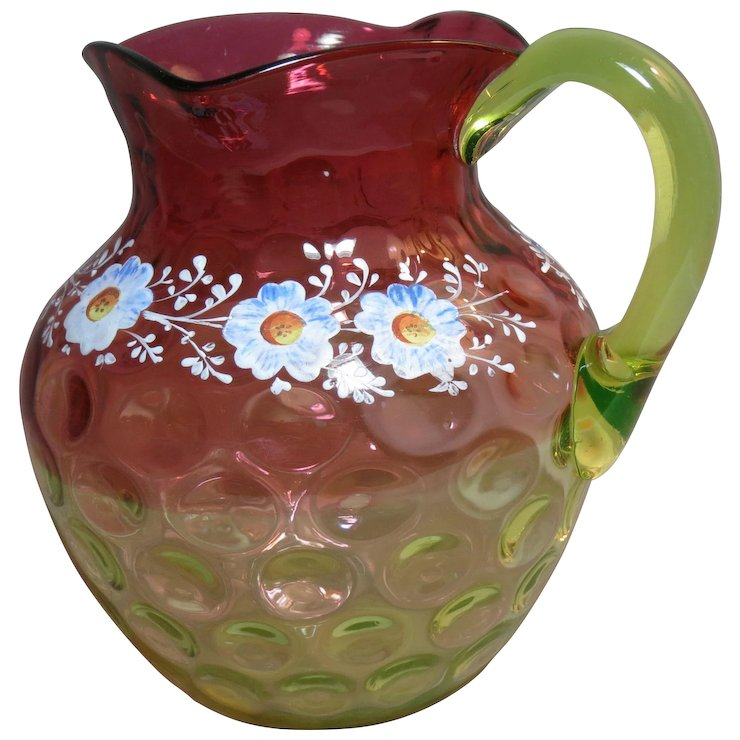 Hobbs Rubina Verde Water Pitcher Enamel Decoration Glasstiques Mesmerizing Decorative Water Pitcher