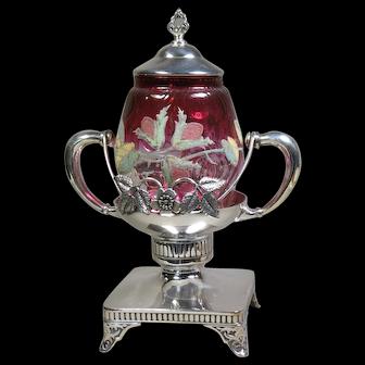Victorian Art Glass Pickle Castor Silver Plate