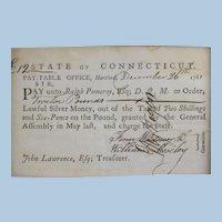 1781 Connecticut Manuscript payment voucher