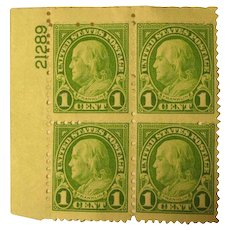 1923 1cent Franklin Plate Block 4 stamps