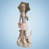 Lladro 4510 Girl With Umbrella and Geese