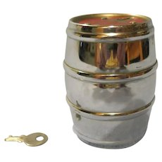 Vintage Chrome Barrel Still Bank