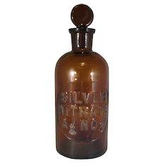 Vintage Amber Silver Nitrate Bottle