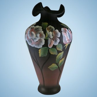 Fenton Glass Moonlit Poppies Vase