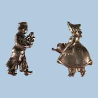 Vintage Pair of Sterling Silver Dutch Boy & Girl Pins