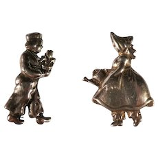 Vintage Pair of Sterling Silver Dutch Boy & Girl Pins