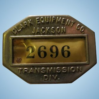 Vintage Clark Equipment co. Jackson Badge