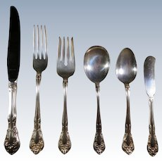 Alvin Sterling Silver 48 Pc. Dinner sized Flatware set. A 6pc setting for 8, Plus 2 Large Serving Spoons, 1 large Butter, 1 Extra Soup Spoon 52 pieces in all. Chateau Rose Pattern