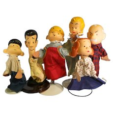 Vintage Dennis The Menace 1958 set of 6 hand Puppets