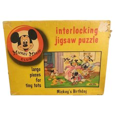 Vintage Mickey Mouse Club Birthday Puzzle from the 1960's