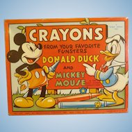 Vintage Mickey Mouse & Donald Duck  1939 Crayons Tin