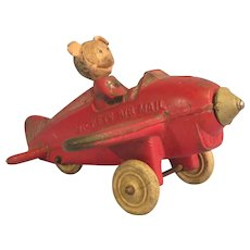 Vintage Mickey Mouse 1950's Sun Rubber Air Mail Plane