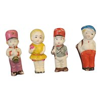 Vintage set of 4 Bisque Dolls 1950's