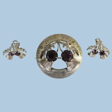 Vintage Ward Brothers Edinburgh Sterling Silver Amethyst Thistle Brooch Pin and Earring Set 1950's