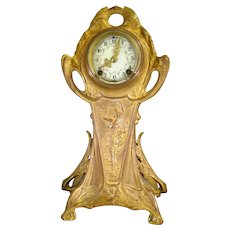 Art Nouveau Gold gilded New Haven Clock 1890-1910