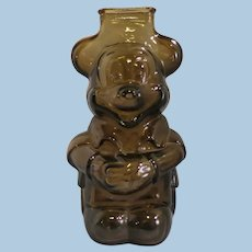 Vintage Mickey Mouse Amber Glass Bank