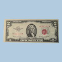 Vintage 1953B Two Dollar bill with red star near mint
