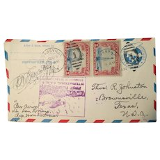Vintage Post office letter, First International flight from Brownsville Tex, to San Lorenzo, Feb, 1930