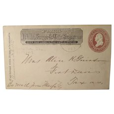 Vintage Wells Fargo&Co's Exprss 2 cent Postage Letter 1885
