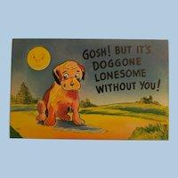 Vintage Postcard with little Dog