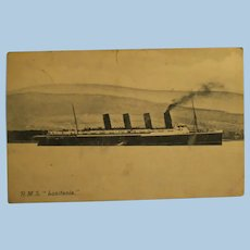 """Vintage  Post Card of the R.M.S. """"Lusitania"""" Mailed 1907"""