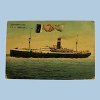 "Vintage Post Card of British Ship T.S.S. ""Saturnia"" Mailed May 7, 1913"