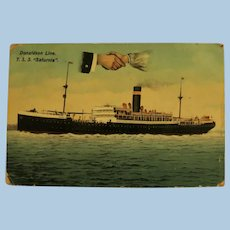 """Vintage Post Card of British Ship T.S.S. """"Saturnia"""" Mailed May 7, 1913"""