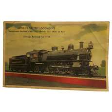 Vintage Post Card of the World's Fastest Locomotive Chicago Railroad Fair 1949