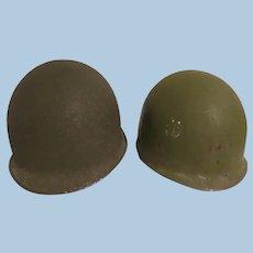 Vintage WW 11 >Korean War Front seam Helmet with Micarta Liner
