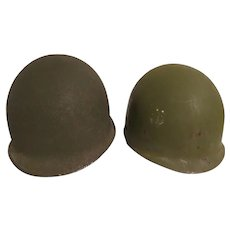Vintage WW 11 >Korean War Front seam Helmet with Micarta Liner