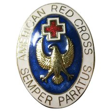 Collectible American Red Cross Symbol with Gold Eagle