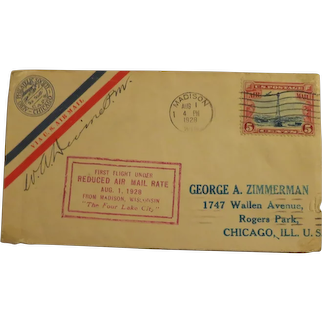 Vintage First Day cover under reduced Air Mail Rate Date 1928